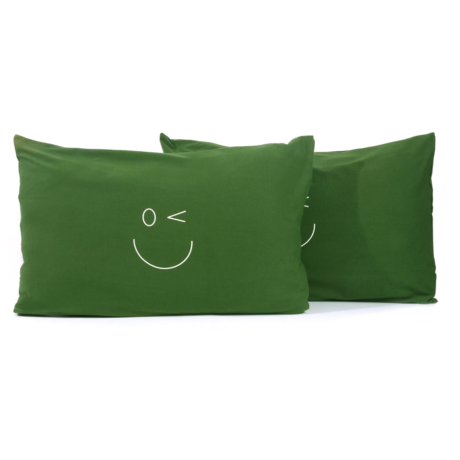 Smiley Wink Face Green 2 Pc. Bed Pillowcase