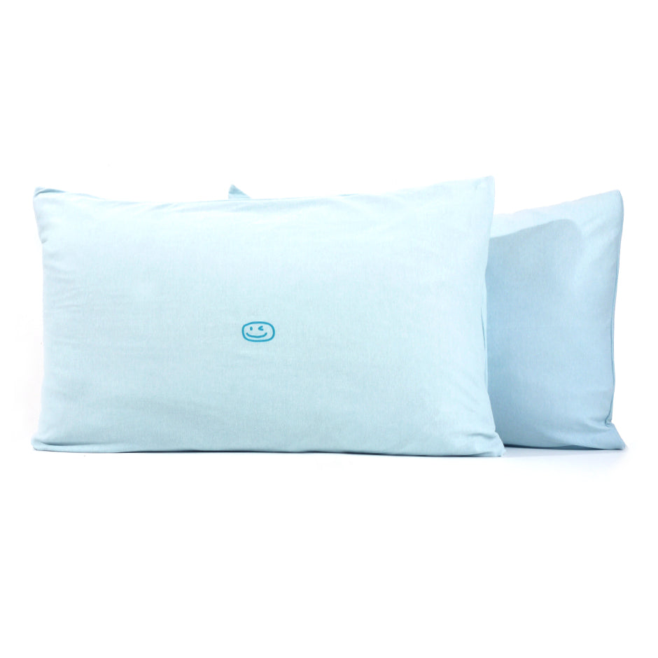 Smiley Wink Lt. Blue 2 Pc. Bed Pillowcase