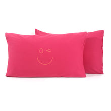Load image into Gallery viewer, Smiley Wink Face Fuchsia 2 Pc. Bed Pillowcase