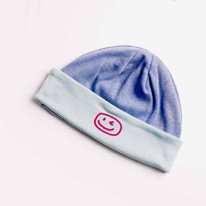 Smiley Wink Lt. Blue Beanie