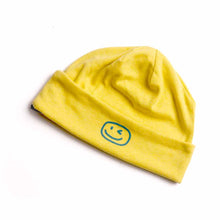 Load image into Gallery viewer, Smiley Wink Yellow Beanie