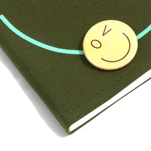 Load image into Gallery viewer, Smiley Wink F. Green Doodle Book and Pin Set