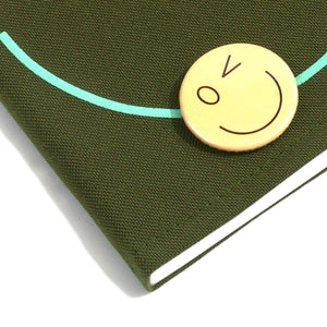 Smiley Wink F. Green Doodle Book and Pin Set