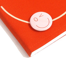 Load image into Gallery viewer, Smiley Wink Orange Doodle Book and Pin Set