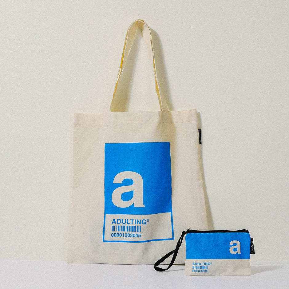 A Alphabet Tote Bag and Pouch Set