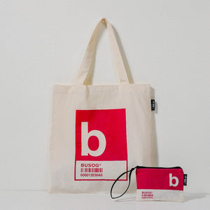 B Alphabet Tote Bag and Pouch Set