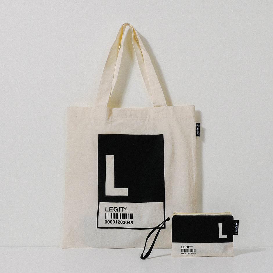 L Alphabet Tote Bag and Pouch Set