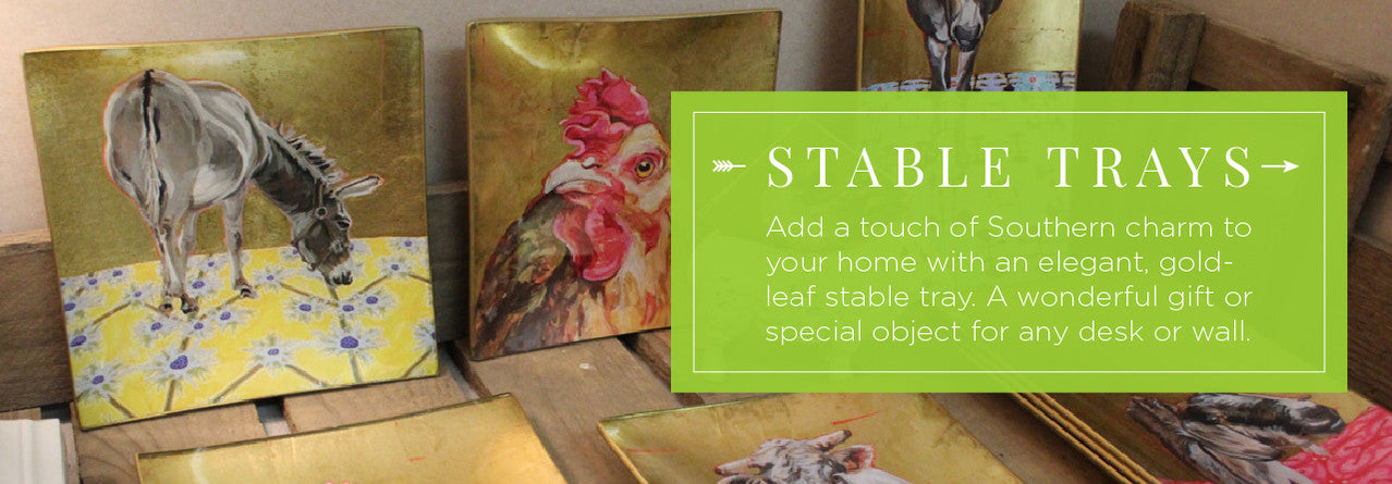 Gold Leaf Decoupage Farm Animal Trays