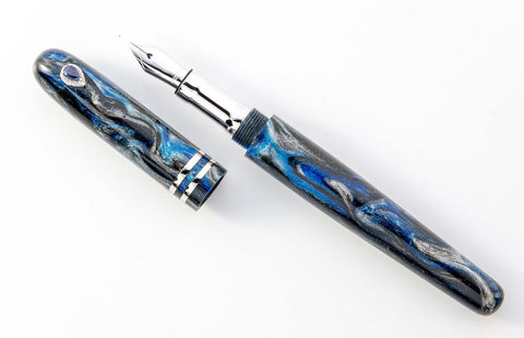 Blue Black and Gray Handcrafted Fountain Pen