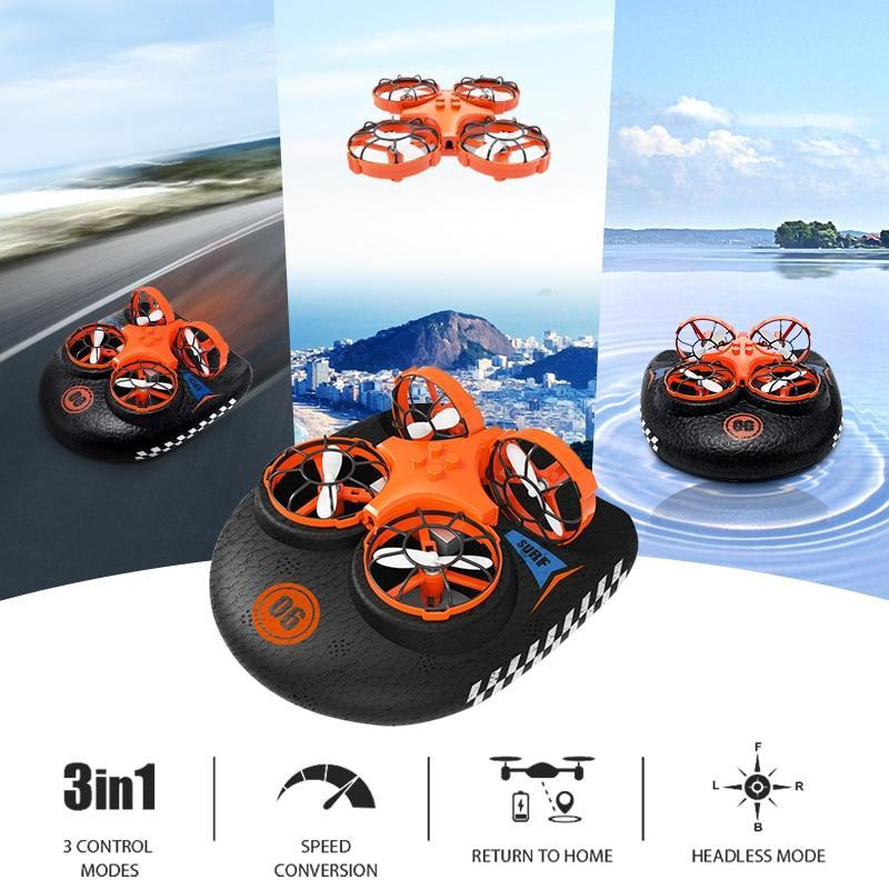 3-In-1 Air, Land & Water Hovercraft Drone