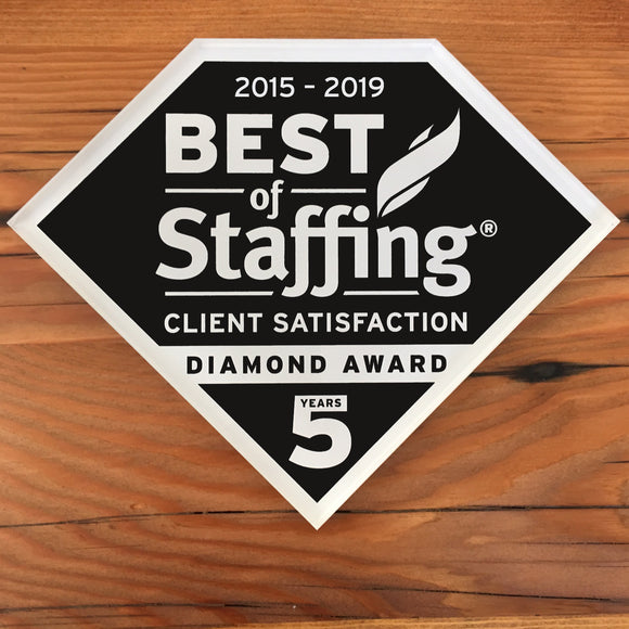 2019 Staffing Client Diamond Award | Office Wall Mount