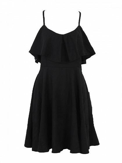 Black Cotton V-neck Ruffle Trim Open Back Chic Women Cami Mini Dress