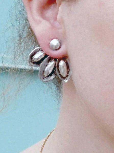 Unique Handmade Sterling Silver Ear Jacket Earrings.