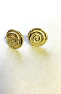 Round Yellow Gold Stud Earrings