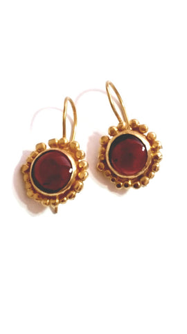 Gold Garnet Dangle Earrings