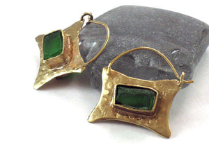 Emerald Green Glass Gold Hoop Earrings
