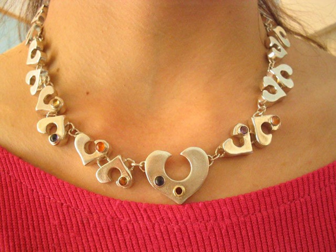 Statement Sterling Three Dimension Heart Necklace