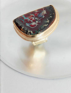 Large Natural Australian Opal Goldfilled Ring