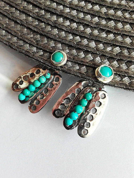 Unique Turquoise And Silver Earrings.