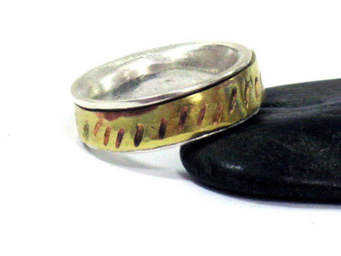 Spinner Silver Brass Band Ring