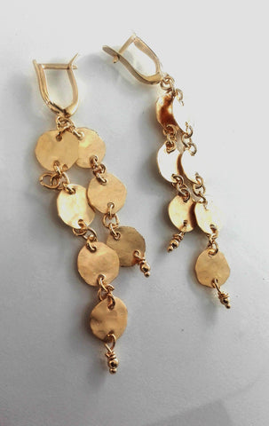 Long Elegant Gold Dangle Earrings.