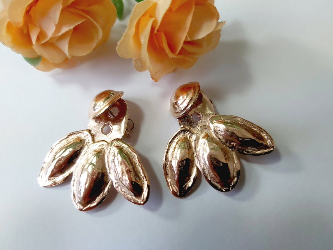 Rose Gold Ear Jacket Earrings