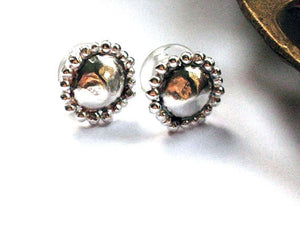 Hammered Round Silver Stud Earrings.