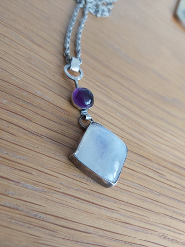 Sterling Y Moonstone Amethyst Necklace.