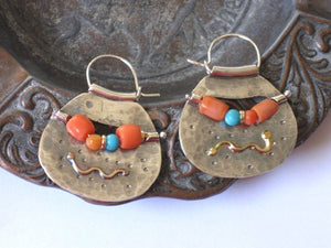 Coral Silver and Gold Bohemian Hoop Earrings