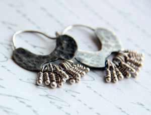 Small Bohemian Silver Hoop Earrings