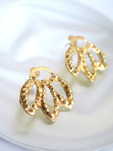 Elegant Gold Leaf Stud Earrings