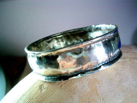 Wide Hammered Solid Silver Bangle