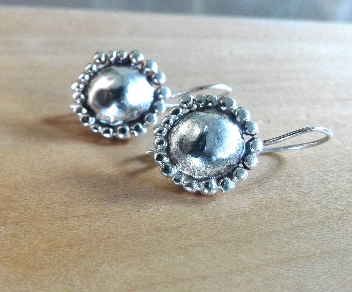 Small Round Dome Silver Earrings