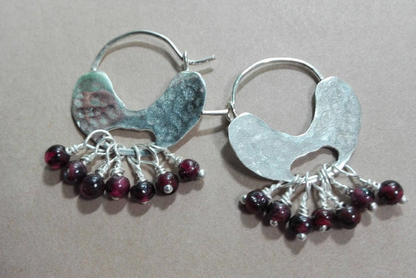 Lovely Silver Garnet Ear Hoops