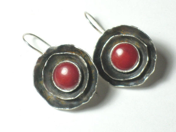 Round Silver Coral Dangle Earrings