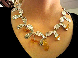 Statement Silver Amber Necklace.