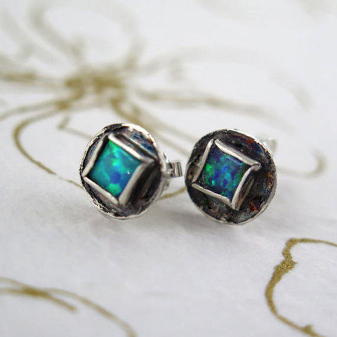 Blue Opal Silver Stud Earrings