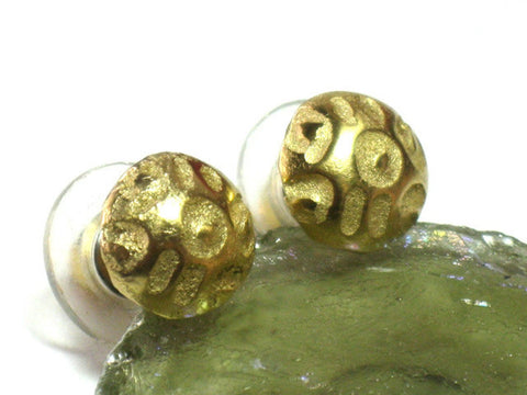 Gold Textured Stud Earrings For Women