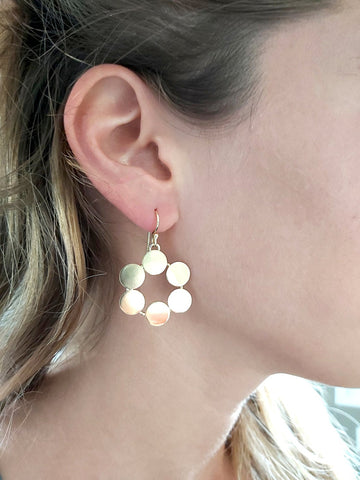 Circle Flower Earrings,Geometric Dangles,Gold Brass Earrings,Circle Dangles,Smooth Earrings,Everyday Earrings,Jewelry Trends,Gift for Her