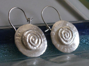 Hoop Earrings Round Hammered Sterling Silver