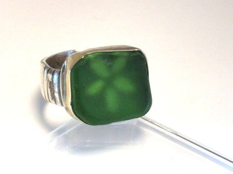 Silver Gold Green Sea Glass Ring