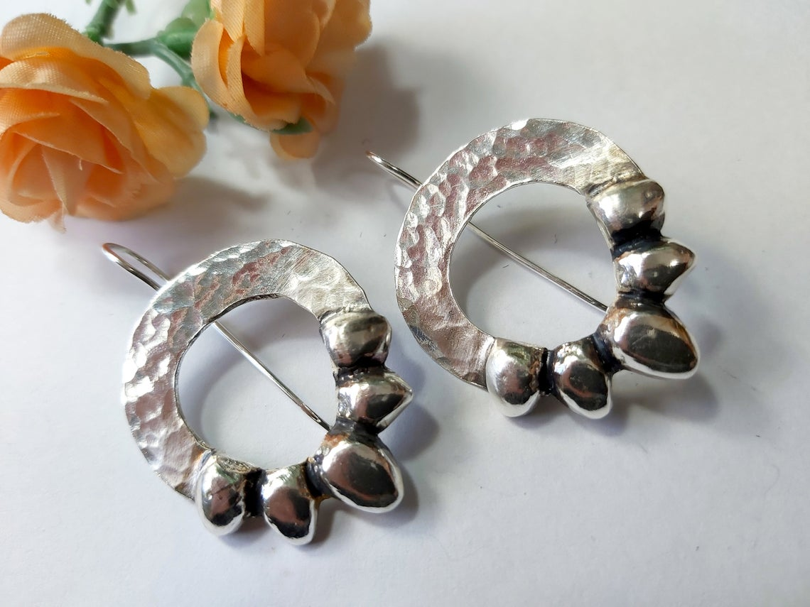 Large Silver Hammered Flower Earrings