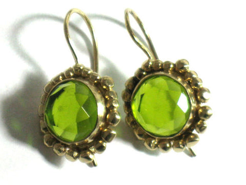Gold Peridot Green Dangle Earrings