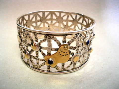 Statement Sterling Silver and Gold Bangle