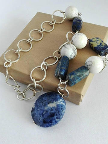 Sodalite Howlite Beads Silver Necklace