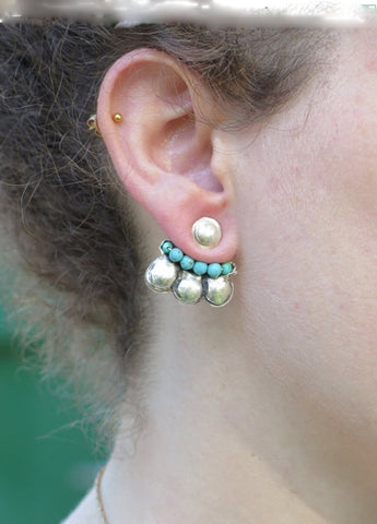 Silver and Turquoise Flower Ear Jackets