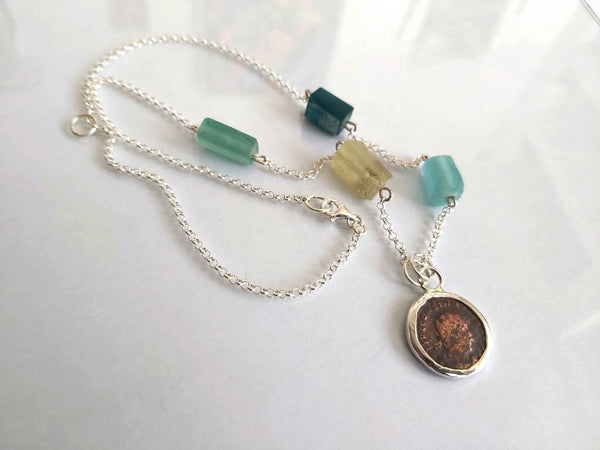 Chain Necklace with Ancient Roman Coin & Beads