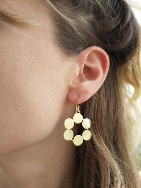 Geometric Circle Hammered Gold Earrings