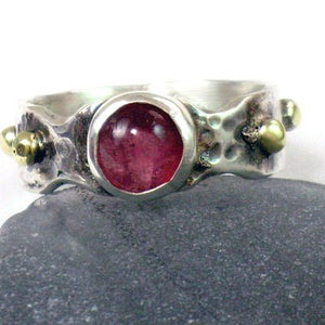 Two Tone Tourmaline Solid Silver Gold Ring