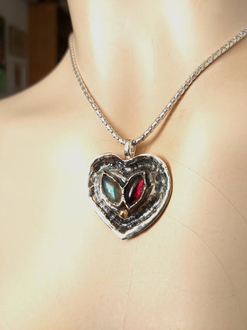 Silver Stones Heart Statement Necklace